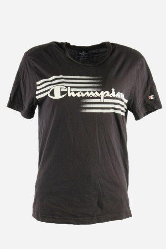 Women Champion T-Shirt Tee Short Sleeve Sports Vintage 90s  Black Size S