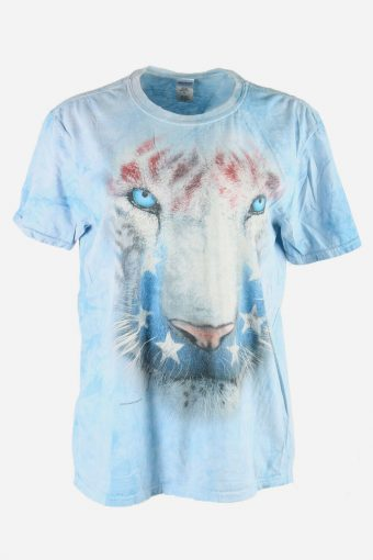 3D Animal Print Tie Dye T-Shirt Retro 90s Hipster Women Blue Size L
