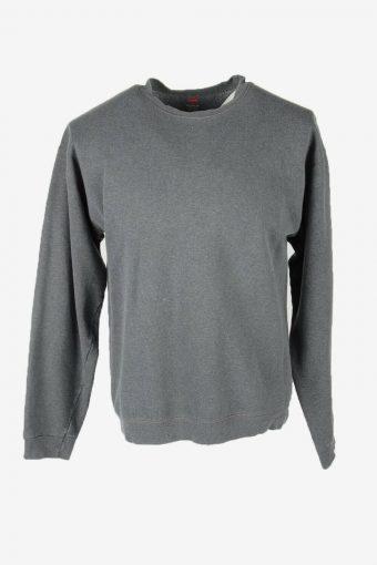 90s Sweatshirt Plain Vintage Pullover Sports Retro Dark Grey Size M