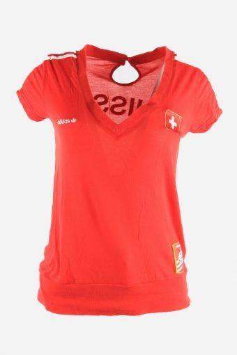 Adidas T-Shirt Tee Women Short Sleeve Switzerland 90s Retro Red Size M