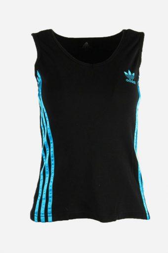 Adidas T-Shirt Tee Women Sleeveless Round Neck 90s Retro Black Size S