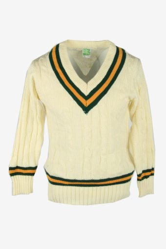 Cable Knit Jumper Aran Vintage V Neck Pullover 90s White Size S