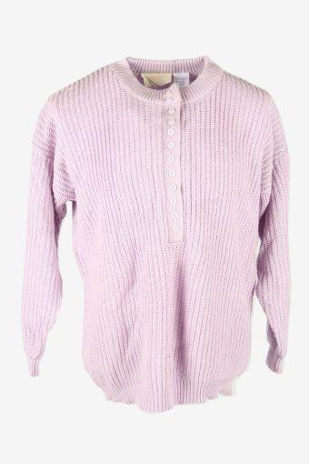 Cable Knit Jumper Vintage Crew Neck Pullover Retro 90s Purple Size XL