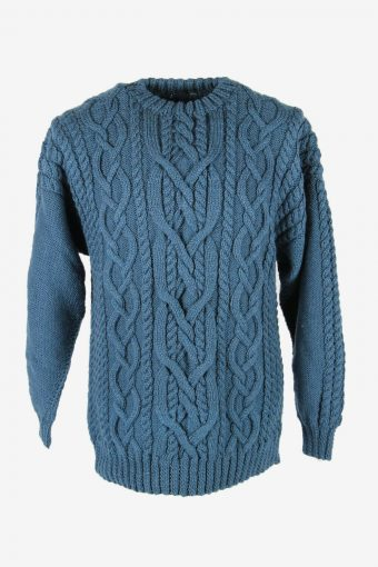 Cable Knit Wool Jumper Vintage Crew Neck Pullover 90s Blue Size M