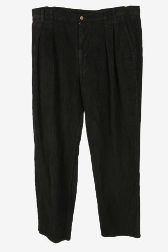 Corduroy Cord Trousers Vintage Straight Casual Black Size W36 L30