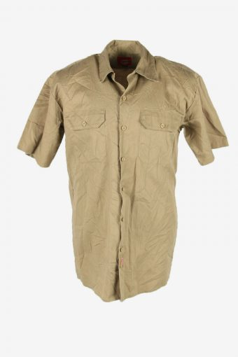 Dickies Work Shirts Short Sleeve USA Workwear 90s Retro Beige Size M