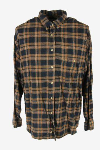 Flannel Shirt Vintage Check Long Sleeve Button 90s Cotton Multi Size XL