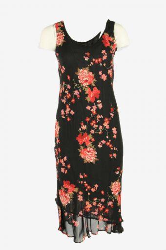 Flowers  Print Dress Midi Dress Sleeveless V Neck Retro Black Size S