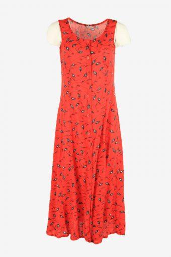 Flowers Vintage Maxi Dress Sleeveless Scoop Neck 90s Retro Red Size L