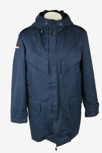 France Flag Army Military  Parka Coat Adjustable Lined Navy Size XL