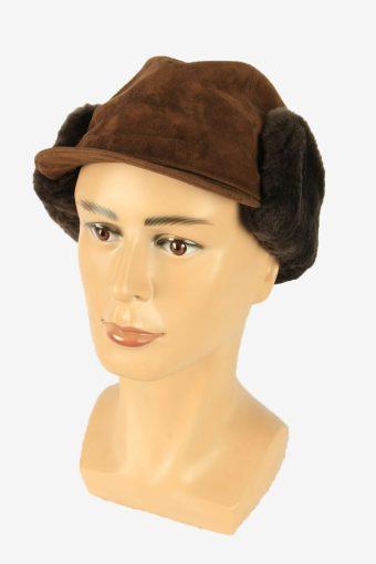 Fur Suede Cap Hat Vintage Earflaps Ski Cossack 90s Brown Size 54 cm