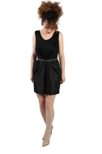 H&M Black Sequin Glittered Cocktail Dress with Belt Size 36