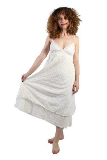 H&M Cotton Cream Two Lined Hem Maxi Dress Tie Back Detail Size 36