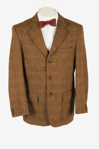 Harris Tweed Vintage Blazer Jacket Herringbone Elbowpatch Brown Size L