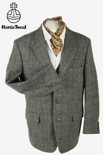 Harris Tweed Vintage Blazer Jacket Windowpane Country  Grey Size L