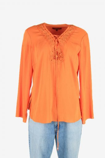 Hippie Gypsy Embroidered Blouse Tunic Top Vintage Kaftan Orange Size L
