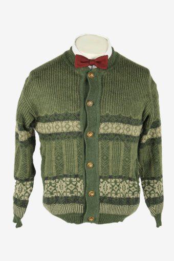 Knit Cardigan Vintage Crew neck Pocket Aztec Button Up 90s Green Size M