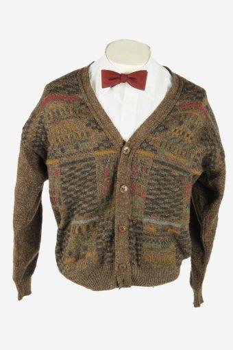 Knit Cardigan Vintage V Neck Sweater Soft Button Up 90s Brown Size M