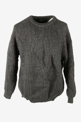 Knit Wool Jumper Vintage Crew Neck Pullover Warm 90s Dark Grey Size XXL
