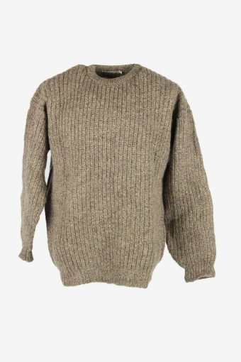 Knit Wool Jumper Vintage Crew Neck Pullover Warm 90s Multi Size XL