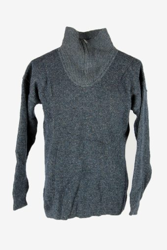 Knit Wool Jumper Vintage Turtle Neck Zip Pullover Warm 90s Blue Size M