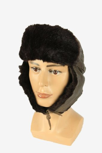 Leather Fur Winter Hat Cossacks Vintage Warm 80s Brown Size 50 cm