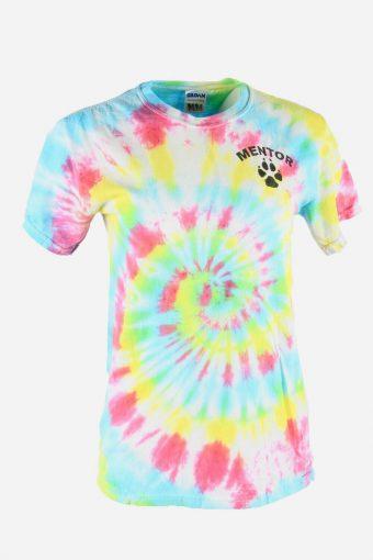 Rainbow Tie Dye T-Shirt Retro Music Festival Hipster Women Multi Size S