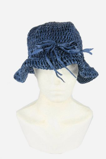 Straw Style Hat Brimmed Summer Bowknot 90s Retro Navy Size 56 cm