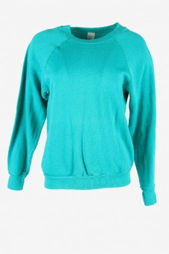 Vintage 90s Sweatshirt Plain Pullover Sports Retro Turquoise Size M