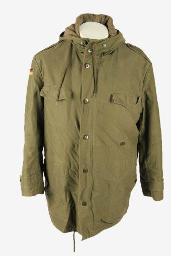 Vintage Army Military  Parka Coat Jacket German Flag Hooded Khaki Size XXL