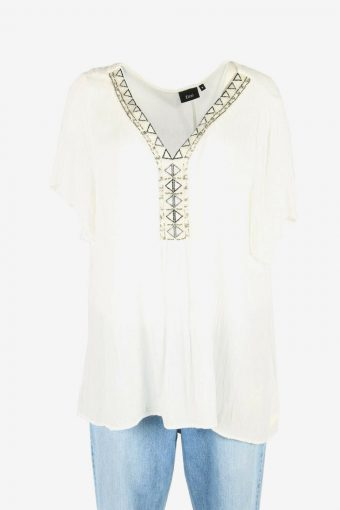 Vintage Beaded Hippie Gypsy Blouse Tunic Top Kaftan 90s White Size M