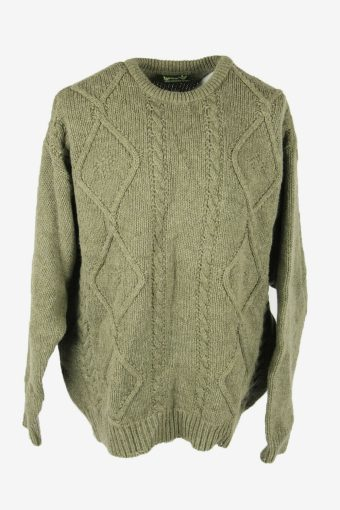 Vintage Cable Knit Wool Jumper Crew Neck Pullover 90s Green Size XXXL