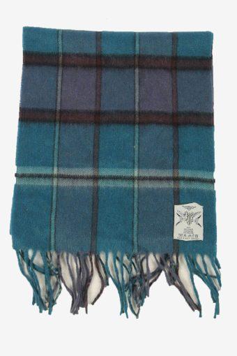 Vintage Cashmera Check Tartan Neck Warmer Scarf Soft  90s Retro Turquoise