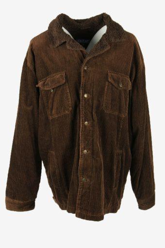 Vintage Corduroy Coat Jacket Fur Lined Pockets Retro 90s Brown Size XXL