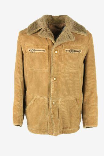 Vintage Corduroy Coat Jacket Hooded Fur Lined Pockets 90s Beige Size M
