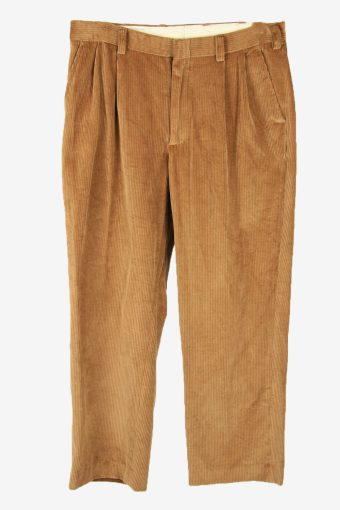 Vintage Corduroy Cord Trousers Straight Comford 90s Camel Size W35 L30