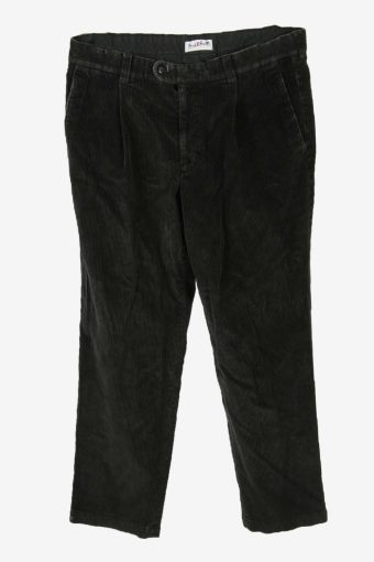 Vintage Corduroy Cord Trousers Straight Fit Casual Black Size W35 L30