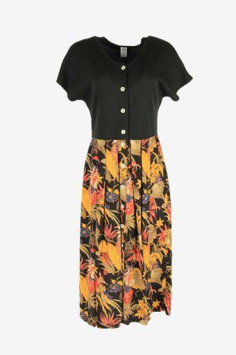 Vintage Floral Midi Dress Short Sleeve Round Neck 90s Black Size L