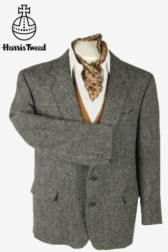 Vintage Harris Tweed Blazer Jacket Herringbone Elbowpatch Grey Size XL