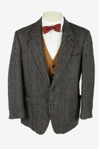 Vintage Harris Tweed Blazer Jacket Striped Country Weave Grey Size L