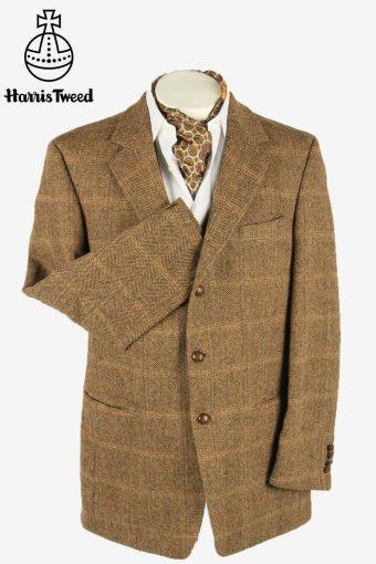 Vintage Harris Tweed Blazer Jacket Windowpane Country  Brown Size XXL