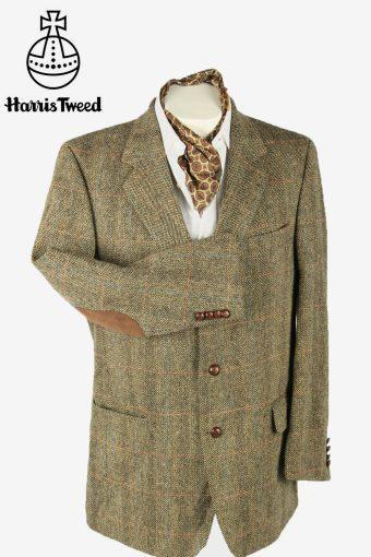 Vintage Harris Tweed Blazer Jacket Windowpane Elbowpatch Beige Size L