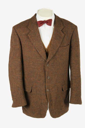 Vintage Harris Tweed Blazer Jacket Wool Check Country Weave Brown Size XL