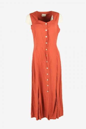 Vintage Plain Maxi Dress  Sleeveless Square Neck Brick Size M