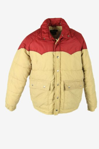 Vintage Puffer Jacket Winter Warm Outdoor Lined Pockets Multi Size L