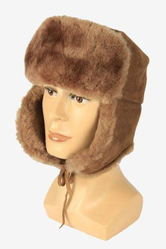 Vintage Russian Style Fur Hat Earflaps Winter Warm Brown Size 58 cm