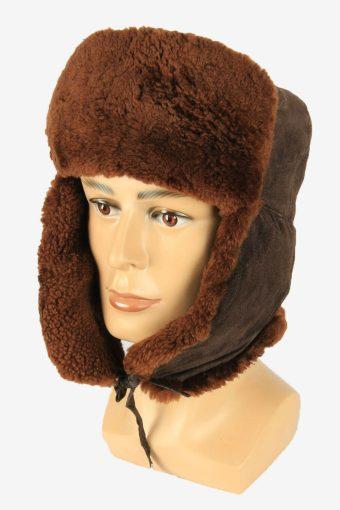 Vintage Russian Style Fur Hat Earflaps Winter Warm Brown Size 62 cm