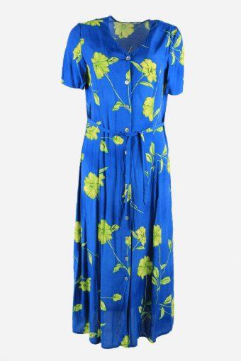 Vintage Short Sleeve Floral Dress Print V Neck Maxi Women Blue Size L