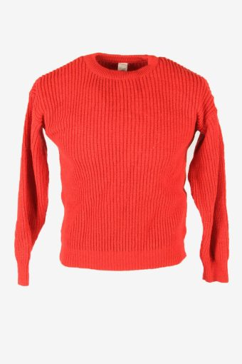 Vintage Wool Jumper Cable Knit Crew Neck Aran Pullover 90s Red Size M