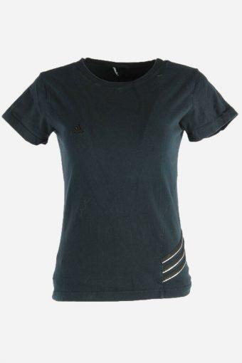 Women Adidas T-Shirt Tee Short Sleeve Sports 90s Retro Black Size S